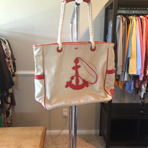 Canvas and leather Anchor beach bag